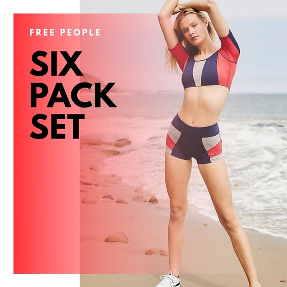 Free People Movement Six Pack Charcoal Combo Short Top 2 Piece Set XS NWT